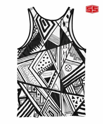 Smartieshirt Black and White Abstract Tank Top
